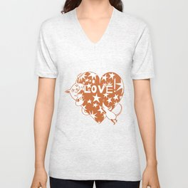 Valentine Cat and Mouse with Love Heart Unisex V-Neck