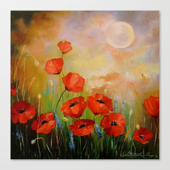 Poppies in the moonlight Canvas Print
