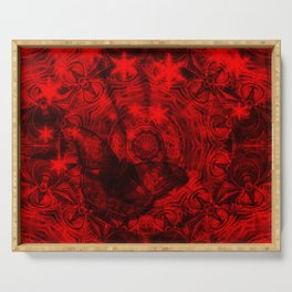 Butterfly and fractal in black and blood red Serving Tray