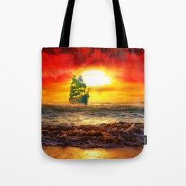 Black Pearl Pirate Ship Tote Bag