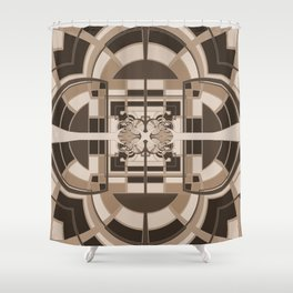 Brown Geometric Abstract Shower Curtain