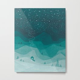 Stars factory, teal mountains house watercolor landscape Metal Print