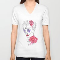 water colour V-neck T-shirts featuring Sugar Skull Water Colour & Ink by Cat Milchard