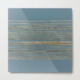 Blueprint and Golden Stripes Metal Print