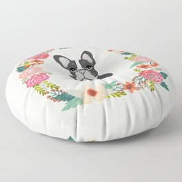 french bulldog black and white floral wreath flowers dog breed gifts corgis Floor Pillow