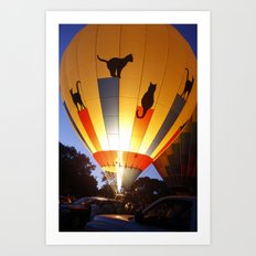 Kitty Hot-Air Balloon Art Print