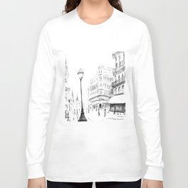 Sketch of a Street in Paris Long Sleeve T-shirt