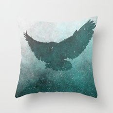 Owl Silhouette | Swooping Owl Ghost | Space Owl Throw Pillow