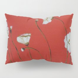 Asian White Poppies Pillow Sham