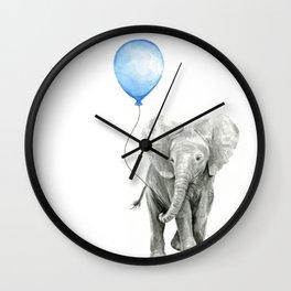 Baby Animal Elephant Watercolor Blue Balloon Baby Boy Nursery Room Decor Wall Clock