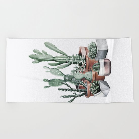 Potted Cacti + Succulents Rose Gold Beach Towel