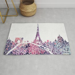 Paris Skyline + Map #1 Rug
