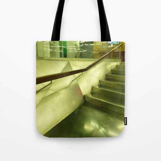 Inside: steel, glass and stairs. Tote Bag