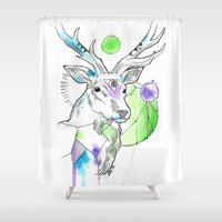 stag Shower Curtains featuring Stag by Little Lost Forest