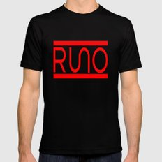 Rue Nothing RUNO Logo Red Black Mens Fitted Tee MEDIUM
