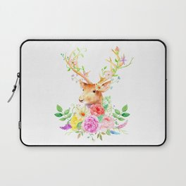 Watercolor Deer and Rose Bouquet Laptop Sleeve