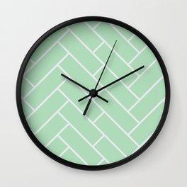 Mint Herring Bone Pattern Wall Clock