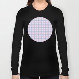 Pink & Purple Plaid Pattern over Light Blue Background Long Sleeve T-shirt