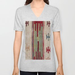 Arcade Star Kilim // 17th Century Colorful Muted Lime Green Southwest Cowboy Ornate Accent Pattern Unisex V-Neck