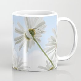 Remembrance Delicate White Daisies against Light Blue Cloudy Sky Coffee Mug