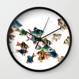 Barb Fish, Aquatic Blue Turquoise Underwater Scene Wall Clock