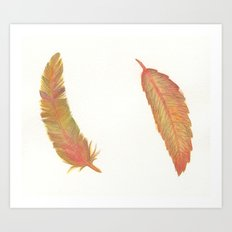 a fall leaf or a colorful feather Art Print