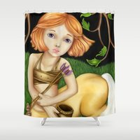 sagittarius Shower Curtains featuring Sagittarius by Paula Ellenberger