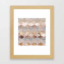 Copper and Blush Rose Gold Marble Argyle Framed Art Print