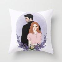 lydia martin Throw Pillows featuring Derek Hale/Lydia Martin by vulcains