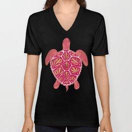 Sea Turtle in Pink & Gold Unisex V-Neck