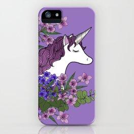 Unicorn in a Purple Garden iPhone Case