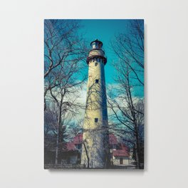 Poe Style Grosse Point Lighthouse on Lake Michigan Evanston Illinois Metal Print