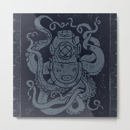 Mark V Octopus - navy Metal Print