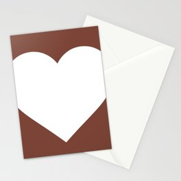 Heart (White & Brown) Stationery Cards