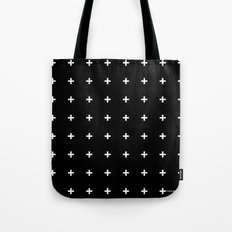 White Plus on Black /// www.pencilmeinstationery.com Tote Bag