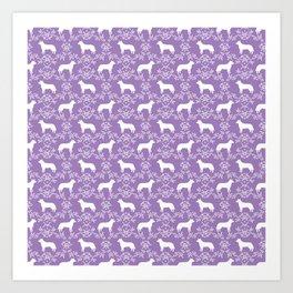 Australian Cattle Dog minimal floral silhouette pattern lavender and white dog art Art Print