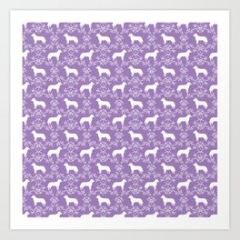 Australian Cattle Dog minimal floral silhouette pattern lavender and white dog art Art Print