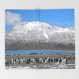 Snowy mountain with King Penguins in the Foreground Throw Blanket