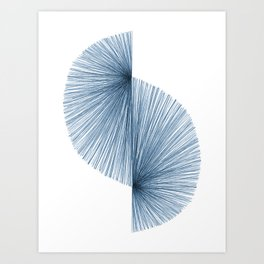 Mid Century Style Modern Geometric Abstract in Indigo Blue Art Print