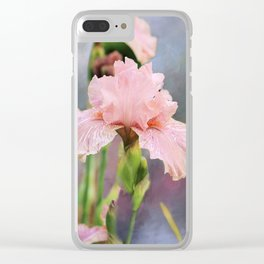 Lovely Pink Iris Clear iPhone Case