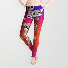 Cute cuddly funny baby Schnauzer puppies, happy cheerful sushi with shrimp on top, rice balls and chopsticks bright pink and purple pattern design. Leggings
