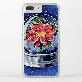 Poinsettia in a Snow Globe Clear iPhone Case