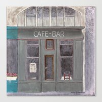 cafe Canvas Prints featuring Cafe by Patty Haberman