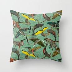 whales and waves jade Throw Pillow