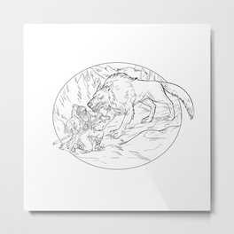 Fenrir Attacking Norse God Odin Drawing Black and White Metal Print