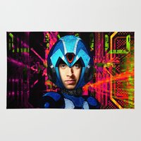 megaman Area & Throw Rugs featuring Megaman wolowitz by seb mcnulty