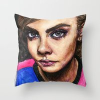cara delevingne Throw Pillows featuring Cara Delevingne:) by vooce & kat