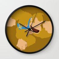 donkey kong Wall Clocks featuring Donkey Kong(Smash)Orange by ejgomez