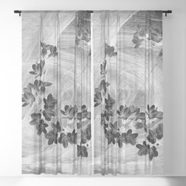 Midnight flowers blowing in the wind Sheer Curtain