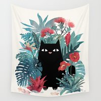 hawaiian Wall Tapestries featuring Popoki by littleclyde